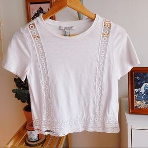 Forever 21 White Embroidered Crop Top